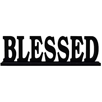 Attraction Design Black Blessed Sign Tabletop Decor, Distressed Wooden Cutout Word Decor, Decorative Blessed Word Art Wood Sitter (Blessed Sign)
