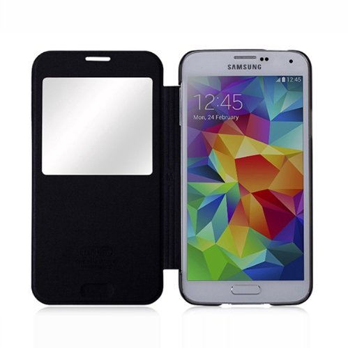 Moon Monkey Lightweight Ultra-thin Slim Protective Case with Intelligent Window for Samsung Galaxy S5 (Black)
