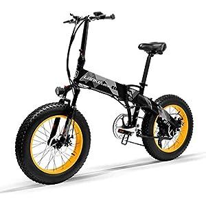 """41S2aBpgKdL. SS300 Bicicletta Elettrica Pieghevole da 20 Pollici con Ruote Larghe 4 """" Motore da 500W/1000W Mountain Bike in Alluminio 48 V 10,4 Ah Batteria Litio Bici da Spiaggia Neve All-terrain per Adulti [EU STOCK]"""