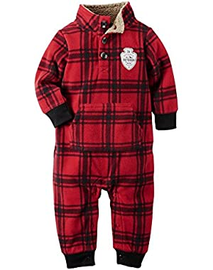 Carters Infant Boys Red Plaid Mock-Neck Fleece Jumpsuit Coverall Outfit 6m