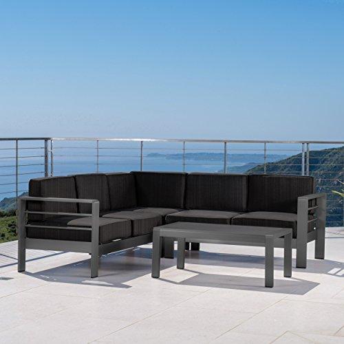 GDF Studio 301804 Coral Bay Outdoor Grey Aluminum 4 Piece V-Shape Sectional Sofa Set ()