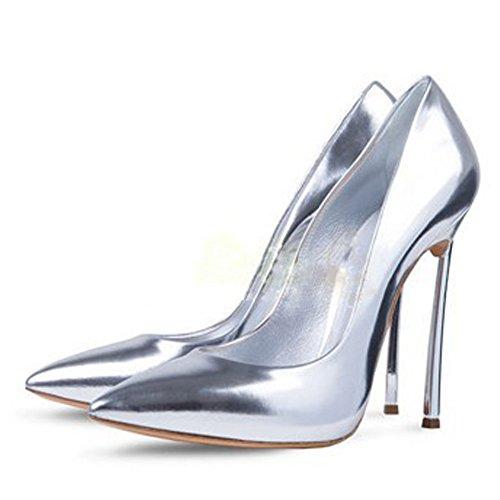 Damen Große Größe Pumps Spitze Zehen High-Heels Stiletto Rutsch Hochzeit  Party Glas-Silber ... 0922b9f48f