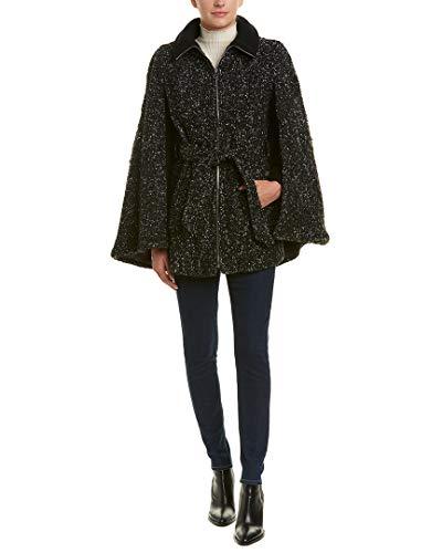 Wool Via Belted Coat (Laundry by Shelli Segal Women's Cape, Black/Grey, Medium)