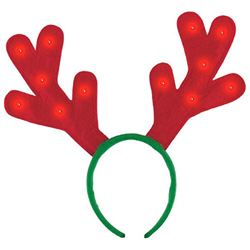 [Amscan Fun-Filled and Holiday Party Christmas Light-Up Reindeer Antler (Pack of 1), Multicolor, 12 1/2