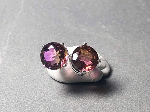 8mm Faceted Round Ametrine Prong set in Sterling Silver Post Earrings