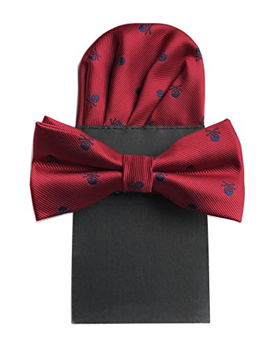 - Big Boys Unisex Skull & Crossbones Skinny Tie with Pocket Square and Bow tie Set