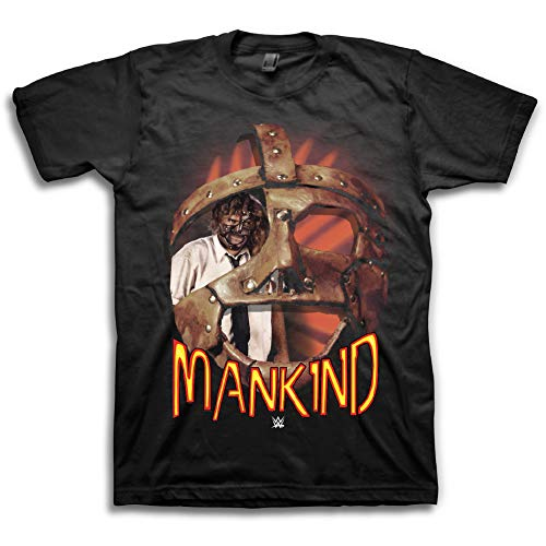 - WWE Mens Mick Foley Shirt - Mankind Mr. Socko - World Wrestling Champion Shirt (Black, Small)