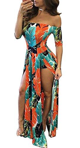 LKOUS Women's Summer Off Shoulder Split Long Beach Dress Floral Print Maxi Dress S-2XL