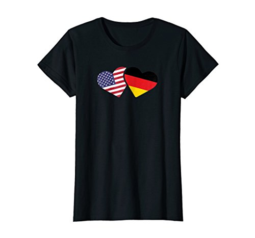 Flag German Heart (Womens Germany USA Flag T Shirt Heart German American Love Cute)