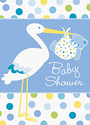 Blue Stork Baby Shower Invitations, 8ct