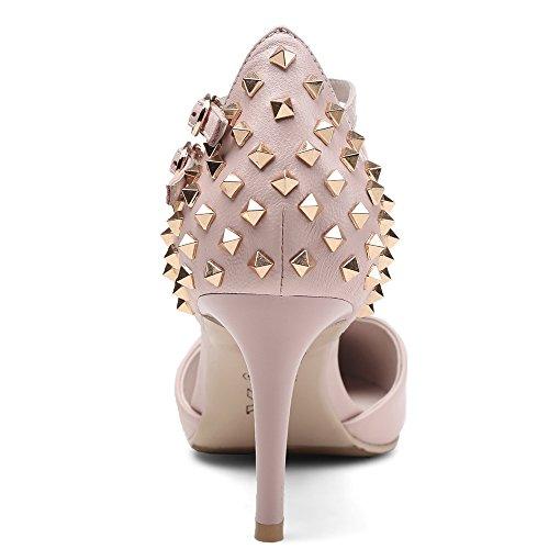 Nine Seven Cuero Puntiagudos Zapatos de Tacón Aguja con Correa de Tobillo de Vestir para Mujer Rosa