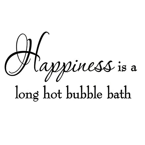 Happiness is a Long Hot Bubble Bath Wall Decal Bathroom Quotes Shower Stickers Sayings Tub (Bathroom Wall Decal Quotes)