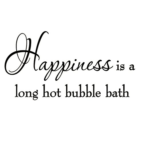 VWAQ Happiness is a Long Hot Bubble Bath Wall Decal Bathroom Quotes Shower Stickers Sayings Tub Lettering