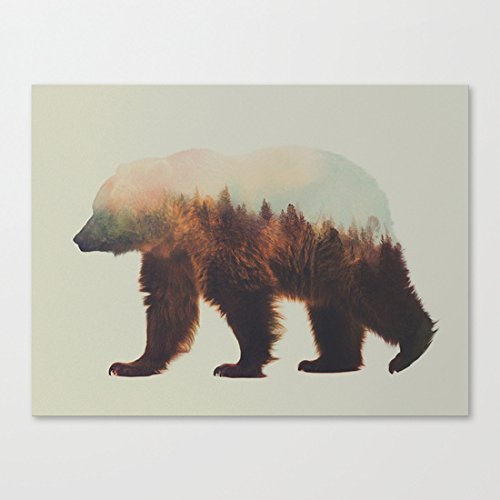 Norwegian Woods The Brown Bear Art Canvas Wall Art Prints 12 x 16 Inch Framed Modern Decor Paintings Artwork for Living Room and Bedroom Decorations