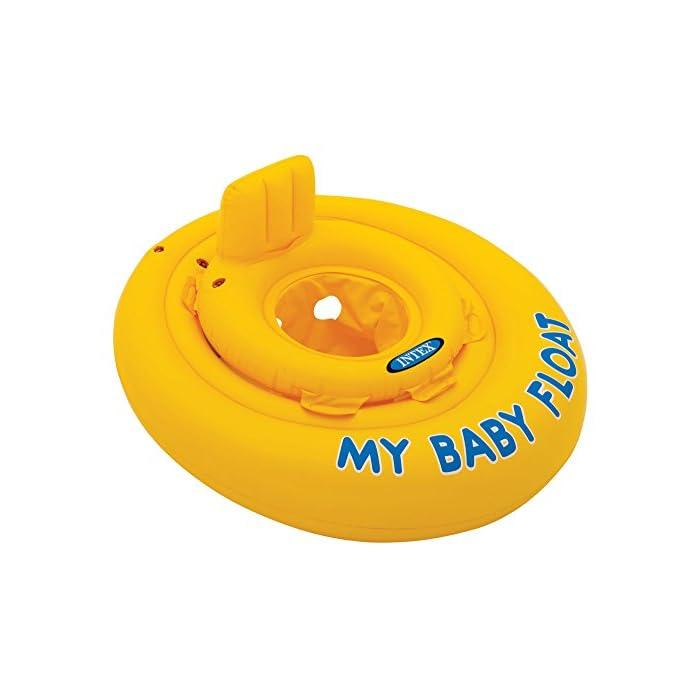 41S2cOYjpiL Flotador hinchable Intex para bebé con forma circular y de color amarillo Tiene asiento y respaldo de apoyo para mayor comodidad del bebé y un diámetro de 70 cm El flotador está fabricado con vinilo resistente y tiene 4 cámaras de aire