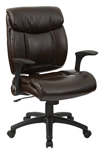 Office Star Padded  Faux Leather Seat and Back Managers Chair with Flip Arms, Chocolate