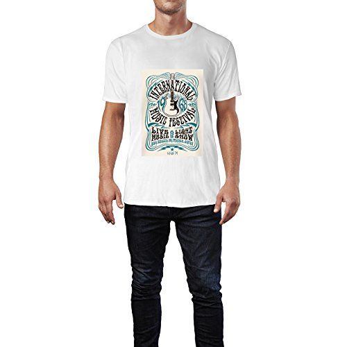 SINUS ART® Kult Poster aus den 60ern und 70ern Herren T-Shirts in Weiss Fun Shirt mit tollen Aufdruck