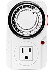 iPower 24 Hour Plug-in Mechanical Electric Outlet Timers Switch Programmable Indoor, Accurate Heavy Duty 3-Prong for Lamps Fans Christmas String Lights, AC 1725W 1/2 HP, UL Listed, White