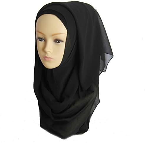 Weixinbuy Elegant Style Sheer Chiffon Lurex Muslim Long Scarf Hijab