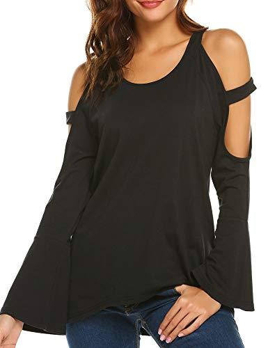 Yayado Women's Cold Shoulder Tops Crisscross Bell Sleeve Blouse Shirts Black XL