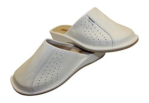 naturel confort cuir Vachette chaussons Aux Blanc pantoufles femmes fYUqwS4SR