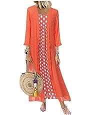 فستان نسائي من قطعتين من DressU طويل الأكمام شال بولكا منقط ماكسي