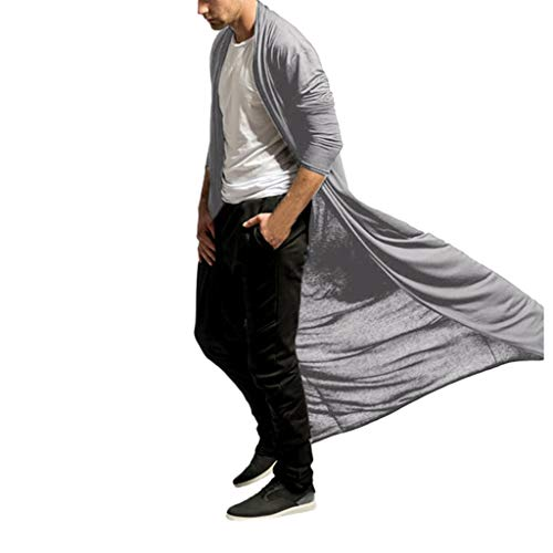 WUAI Ruffle Shawl Collar Cardigan Jackets Open Front Outerwear Short Sleeve Long Length Drape Cape(Grey,XX-Large