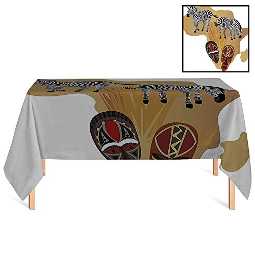 SATVSHOP Dinning Tabletop Decoration /24x24 Square,Safari Illustration of Native Ethnic Icons and Traditional Ceremonial African Mask Zebra Art for Wedding/Banquet/Restaurant.