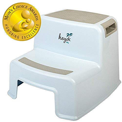 Dual Height 2 Step Stool (Mom's Choice Award Winner) with Anti-Slip Safety Rubber Pads - Kids Step Stool with Easy & Safe Potty Training & Teeth Brushing