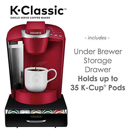 K-Classic Coffee Maker, Rhubarb Under Brewer Storage Drawer Holds 35 K-Cup Coffee Pods
