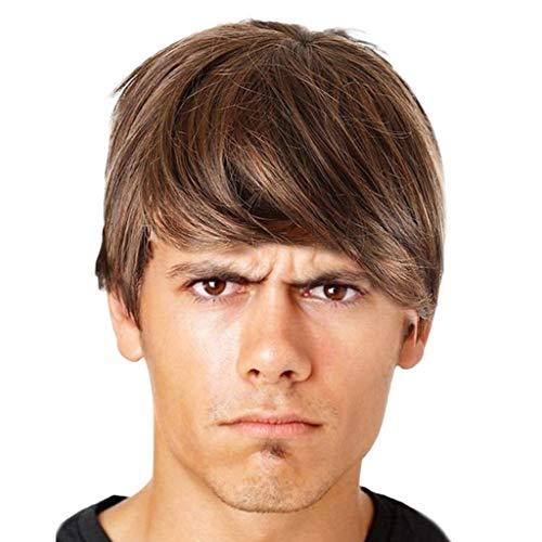 1 piece ISHOWTIENDA Full Lace Human Hair Wigs Three Colors Optional Fashion Man Short Cruly Men's Wig Party Wig Cool Wig #XTJ