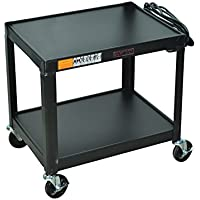 Offex Mobile Fixed Height Steel Audio Visual 2-Shelf Storage Utility Cart with Electric 4-Inch Heavy Duty Casters, Black (OF-W26E)