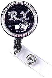 Rhinestone Locket Charm Retractable ID Badge Holder (RX Pill Locket Badge)