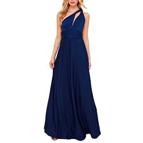 JET-BOND Infinity Night Dress Multi-Way Wrap Camisoles Halter Floor Long Dress High Elasticity FS41 (S, Navy Blue) Navy Dinner Dress White