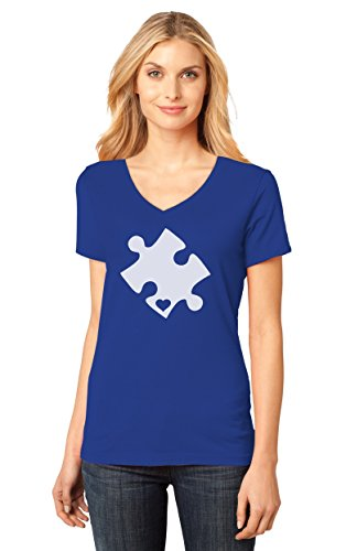Autism Awareness Heart Cut Puzzle Women's Fitted V-Neck T-Shirt Large Blue