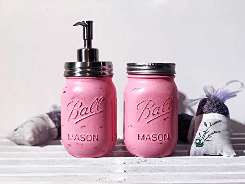 (Mason Jar Soap Dispenser and Toothbrush Holder Bathroom Set (Pink) 2 Hand Painted & Distressed Jars with Quality Stainless Steel Pump (Brushed Nickel) - Rustic Farmhouse)