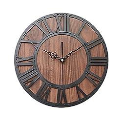 Pinleg Wall Clock, European Creative Retro Silent Wooden Roman Digital Craft Clock Living Room Decorative Acrylic Wall Clock Bedroom Living Room Cafe Study Room (Black)