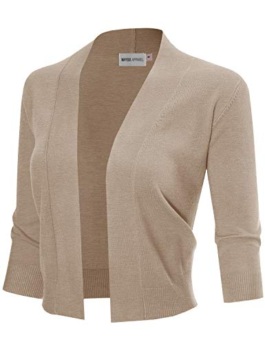 MAYSIX APPAREL 3/4 Sleeve Solid Open Bolero Cropped Cardigan For Women HEATHERKHAKI L by MAYSIX APPAREL