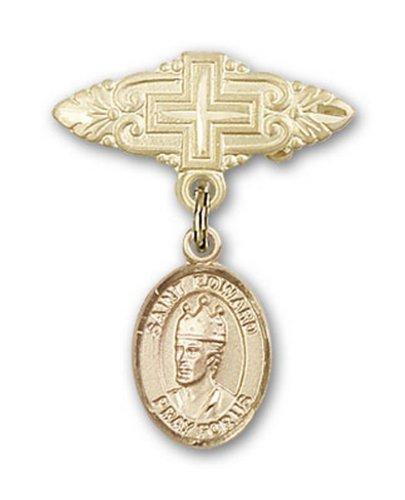 Icecarats Or Bijoux De Créateurs Rempli R. Edward La Broche Confesseur Badge Charme Avec Une Croix X 3/4