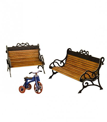 KERANOVA Clever Paper Doll House and Furniture Collection Bench 3D Puzzle, 16 x 7.5 x 9 cm ()