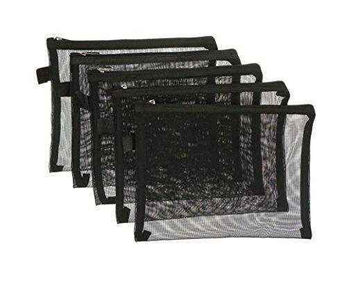 ZXSWEET Bags26 Storage Bags, Black (Black Mesh Zipper Pouch)