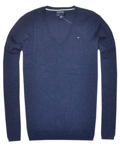 Tommy Hilfiger Women Pima Cotton Solid V-Neck Logo Sweater (X-Small, (Logo V-neck Sweater)
