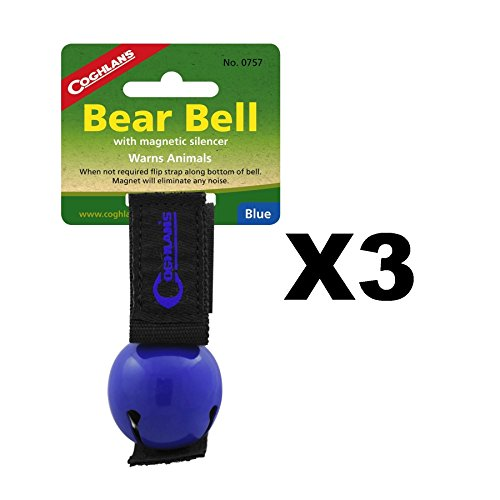 Coghlan's Bear Bell Blue w/Magnetic Silencer & Loop Strap Warns Animals (3-Pack) by Coghlan's