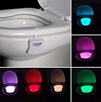 Toilet bowl lights with 8 colors motion activated sensor night light toilet bowl lights with 8 colors motion activated sensor night light great for washroom and bathroom aloadofball Gallery