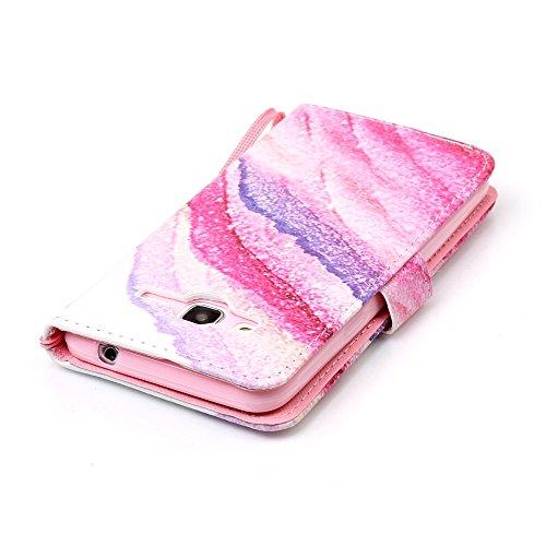 Funda Libro Galaxy J3 (2016 edicion) PU Leather Cuero Suave Case -Sunroyal ® [Anti-Scratch] Ultra Slim Flip Carcasa Cover, Cierre Magnético, Función de Soporte,Billetera con Tapa para Tarjetas Caja de A-18