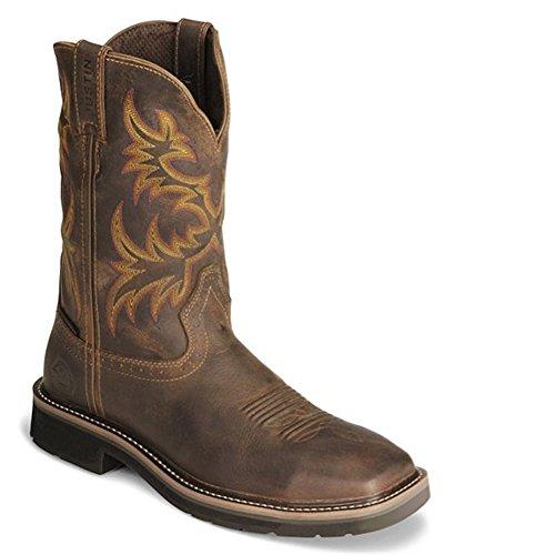 Boots Logger Justin (Justin Original Work Men's Stampede, Rugged Tan Cowhide Waterproof Steel Toe, 12 D US)