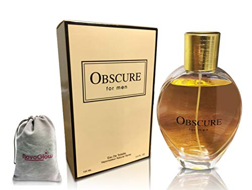 Obscure for Men Perfume, Eau de Toilette Spray for Men, 3.4 oz, Passionate. Powerful. Intense. Perfect Gift with a NovoGlow Pouch Included