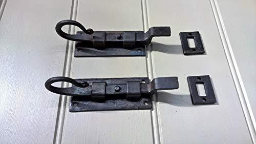 (Antique Old Compatible for Vintage Black Door Bolt Cranked Rat Tail 4 inch - Pair)