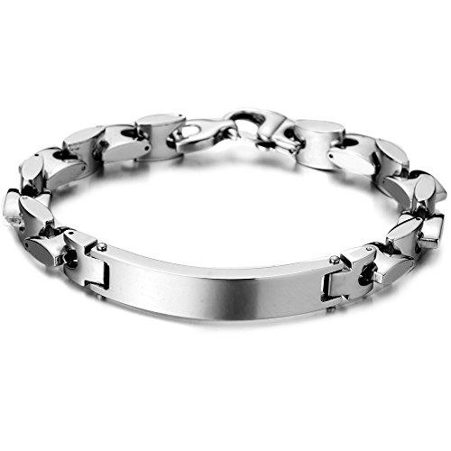 Stainless Identity Bracelet Irregular Polished