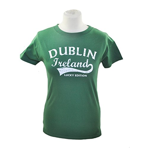 Ladies Fitted T-Shirt With Fame-Style Dublin Ireland Print, Sage Green Colour (Fame Womens Fitted T-shirt)